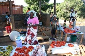 Ein Marktstand auf Mayotte